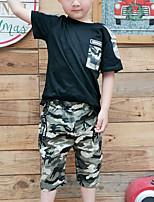 Недорогие -Дети Дети (1-4 лет) Мальчики Активный На каждый день Черное и белое Контрастных цветов Пэчворк С короткими рукавами Обычный Обычная Набор одежды Хаки