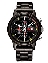 cheap -Men's Sport Watch Quartz Wood Calendar / date / day Day Date Analog Fashion Cool - Red Brown Black One Year Battery Life