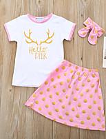cheap -Toddler Girls' Basic Polka Dot Cartoon Print Short Sleeve Regular Regular Clothing Set White