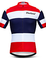 cheap -21Grams Men's Short Sleeve Cycling Jersey Red / White Thailand National Flag Bike Jersey Top Mountain Bike MTB Road Bike Cycling UV Resistant Breathable Quick Dry Sports Clothing Apparel / Stretchy