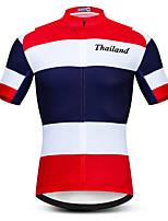 Недорогие -21Grams Муж. С короткими рукавами Велокофты Красный / Белый Таиланд Флаги Велоспорт Джерси Верхняя часть Горные велосипеды Шоссейные велосипеды Устойчивость к УФ Дышащий Быстровысыхающий Виды спорта