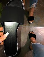 cheap -Women's Sandals Flat Sandal Summer Flat Heel Open Toe Daily PU White / Black / Brown
