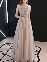 cheap -A-Line Elegant Grey Prom Formal Evening Dress Sweetheart Neckline Sleeveless Floor Length Polyester with Pleats Beading 2020