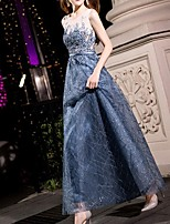 cheap -A-Line Sparkle Blue Wedding Guest Prom Dress Illusion Neck Sleeveless Ankle Length Polyester with Sequin 2020