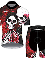 cheap -21Grams Men's Short Sleeve Cycling Jersey with Shorts Black / Red Novelty Skull Floral Botanical Bike Clothing Suit UV Resistant Breathable 3D Pad Quick Dry Reflective Strips Sports Novelty Mountain