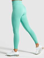 Недорогие -Жен. Завышенная Штаны для йоги Сплошной цвет Пурпурный Оранжевый Зеленый Синий Эластан Бег Фитнес Тренировка в тренажерном зале Велоспорт Колготки Леггинсы Спорт Спортивная одежда / Эластичность