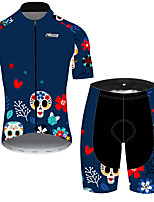 cheap -21Grams Men's Short Sleeve Cycling Jersey with Shorts Black / Blue Skull Floral Botanical Bike Clothing Suit UV Resistant Breathable Quick Dry Sweat-wicking Sports Skull Mountain Bike MTB Road Bike