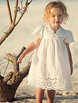 Недорогие -Дети Девочки Однотонный Кружева Платье Белый