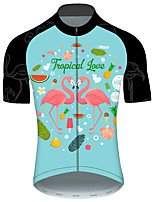 cheap -21Grams Men's Short Sleeve Cycling Jersey Pink+Green Flamingo Animal Floral Botanical Bike Jersey Top Mountain Bike MTB Road Bike Cycling UV Resistant Breathable Quick Dry Sports Clothing Apparel