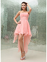 cheap -A-Line Flirty Sexy Homecoming Cocktail Party Dress Strapless Sleeveless Asymmetrical Chiffon with Pleats Beading 2020