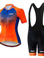 Недорогие -21Grams Жен. С короткими рукавами Велокофты и велошорты-комбинезоны Черный / оранжевый Клетки Велоспорт Наборы одежды Дышащий 3D / Слабоэластичная / Быстровысыхающий / Горные велосипеды / 3D-панель