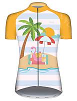Недорогие -21Grams Жен. С короткими рукавами Велокофты Голубой + Желтый Фламинго Животное Цветочные ботанический Велоспорт Джерси Верхняя часть Горные велосипеды Шоссейные велосипеды / Эластичная / Дышащий