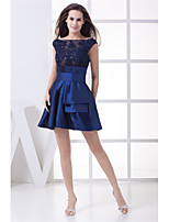 cheap -A-Line Glittering Peplum Homecoming Cocktail Party Dress Boat Neck Sleeveless Short / Mini Taffeta with Beading 2020