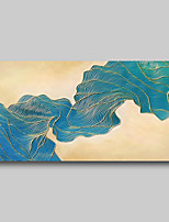 cheap -Oil Painting Hand Painted - Abstract Comtemporary Modern Stretched Canvas Beige Blue Lines