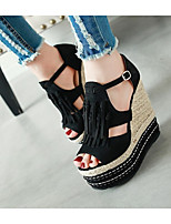 cheap -Women's Sandals Wedge Sandals Summer Wedge Heel Open Toe Daily PU Almond / Black