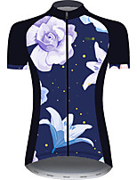 cheap -21Grams Women's Short Sleeve Cycling Jersey Black / Blue Floral Botanical Bike Jersey Top Mountain Bike MTB Road Bike Cycling UV Resistant Breathable Quick Dry Sports Clothing Apparel / Stretchy