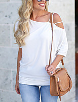 cheap -New 2020 Women's Sling Off Shoulder Solid Half Sleeve Blouse