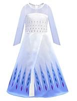 Недорогие -Дети Девочки Симпатичные Стиль Изысканный Геометрический принт Сетка Длинный рукав Средней длины Платье Светло-синий