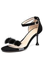 cheap -Women's Sandals Stiletto Heel Open Toe Pom-pom Suede Classic / Minimalism Spring & Summer Almond / Pink / Black / Party & Evening