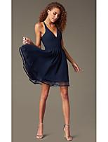 cheap -A-Line Beautiful Back Flirty Homecoming Cocktail Party Dress V Neck Sleeveless Short / Mini Chiffon Lace with Pleats Lace Insert 2020