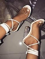 Недорогие -Жен. Сандалии Босоножки Белые сандалии Лето На толстом каблуке Открытый мыс Повседневные Полиуретан Белый / Черный / Бежевый