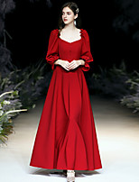 cheap -A-Line Minimalist Red Wedding Guest Prom Dress Scoop Neck Long Sleeve Floor Length Spandex with Buttons Ruffles 2020