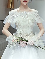 cheap -Short Sleeve Basic Tulle Wedding Shawl & Wrap With Solid