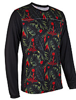 cheap -21Grams Men's Long Sleeve Cycling Jersey Downhill Jersey Dirt Bike Jersey Black / Red Leaf Floral Botanical Bike Jersey Top Mountain Bike MTB Road Bike Cycling UV Resistant Breathable Quick Dry Sports