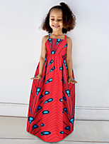 cheap -Toddler Girls' Basic Cute Floral Color Block Rainbow Print Sleeveless Midi Dress Red