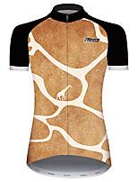 cheap -21Grams Women's Short Sleeve Cycling Jersey Black / Orange Geometic Animal Giraffe Bike Jersey Top Mountain Bike MTB Road Bike Cycling UV Resistant Breathable Quick Dry Sports Clothing Apparel