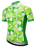 cheap -21Grams Men's Short Sleeve Cycling Jersey Green Plaid / Checkered Bike Jersey Top Mountain Bike MTB Road Bike Cycling UV Resistant Breathable Quick Dry Sports Clothing Apparel / Stretchy / Race Fit