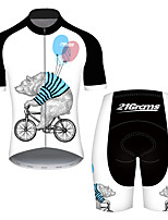 cheap -21Grams Men's Short Sleeve Cycling Jersey with Shorts Black / White Animal Balloon Bear Bike Clothing Suit UV Resistant Breathable Quick Dry Sweat-wicking Sports Animal Mountain Bike MTB Road Bike