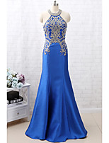 cheap -Mermaid / Trumpet Luxurious Sparkle Engagement Formal Evening Dress Halter Neck Sleeveless Floor Length Satin with Crystals Beading 2020