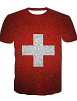 cheap -Kids Boys' Basic Chinoiserie Color Block 3D Print Short Sleeve Tee Red