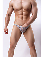 cheap -Men's Lace / Basic Briefs Underwear Low Waist Yellow Red Khaki M L XL