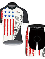 cheap -21Grams Men's Short Sleeve Cycling Jersey with Shorts Black / Red American / USA National Flag Bike Clothing Suit UV Resistant Breathable Quick Dry Sweat-wicking Sports American / USA Mountain Bike