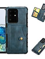 Недорогие -Кейс для Назначение SSamsung Galaxy S20 Plus / S20 Ultra / S20 Бумажник для карт / Защита от удара Кейс на заднюю панель Однотонный Кожа PU / ТПУ