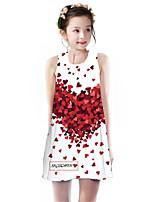 cheap -Kids Girls' Basic Cute Rose Plants Floral Letter Print Sleeveless Knee-length Dress White