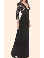 cheap -Sheath / Column Minimalist Black Party Wear Formal Evening Dress V Neck 3/4 Length Sleeve Floor Length Chiffon Lace with Lace Insert 2020