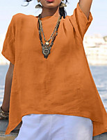 Недорогие -Жен. Однотонный Свободный силуэт Футболка Повседневные Синий / Пурпурный / Оранжевый / Зеленый / Бежевый