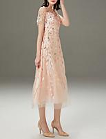 cheap -Sheath / Column Sparkle Pink Wedding Guest Prom Dress Jewel Neck Short Sleeve Tea Length Polyester with Sequin Tassel 2020