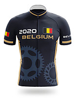 cheap -21Grams Men's Short Sleeve Cycling Jersey Polyester Black Belgium National Flag Bike Jersey Top Mountain Bike MTB Road Bike Cycling UV Resistant Breathable Quick Dry Sports Clothing Apparel