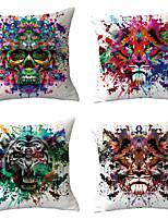 cheap -4 pcs Throw Pillow Simple Classic 45*45 cm Linen Pillow Cover Geometric Bohemian Style Retro