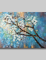 cheap -Oil Painting Hand Painted - Abstract Comtemporary Modern Stretched Canvas White Blossom