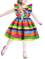 Недорогие -Дети Девочки Классический Симпатичные Стиль Контрастных цветов Радужный Мультипликация Оборки С принтом Без рукавов Выше колена Платье Цвет радуги