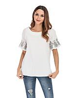 Недорогие -женская повседневная футболка размера eu / us - цвет сплошной квадратный вырез черный