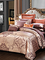 cheap -Luxury Blue Jacquard duvet cover set Bedding sets Satin Pink White Gold bed sheet sheets linen King Queen size bed in a bag 4PCS