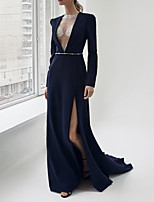 cheap -Sheath / Column Sexy Blue Engagement Formal Evening Dress V Neck Long Sleeve Sweep / Brush Train Satin with Sash / Ribbon Split 2020