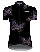 cheap -21Grams Women's Short Sleeve Cycling Jersey Black / White Butterfly Bike Jersey Top Mountain Bike MTB Road Bike Cycling UV Resistant Breathable Quick Dry Sports Clothing Apparel / Stretchy / Race Fit
