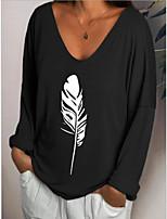 cheap -Women's Plus Size Geometric Print T-shirt Daily V Neck White / Black / Blue / Khaki / Gray